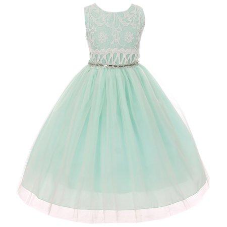 Little Girl Sleeveless Quality Lace Tulle Easter Party Flower Girl Dress USA Mint 2 KK 6429 BNY Corner (Easter Girls Dresses)