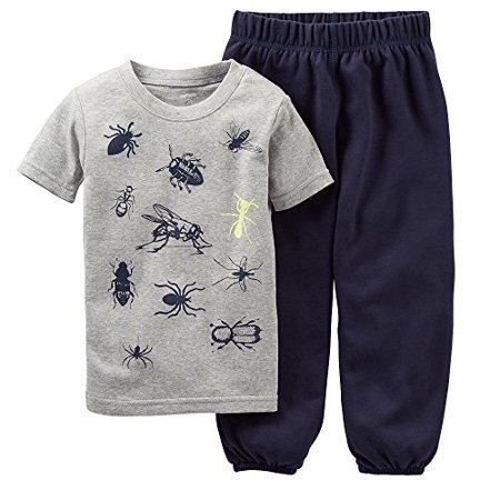 Carters Little Boys Short Sleeve 2 Piece Pajama Cotton Set  Bugs  4 Kids