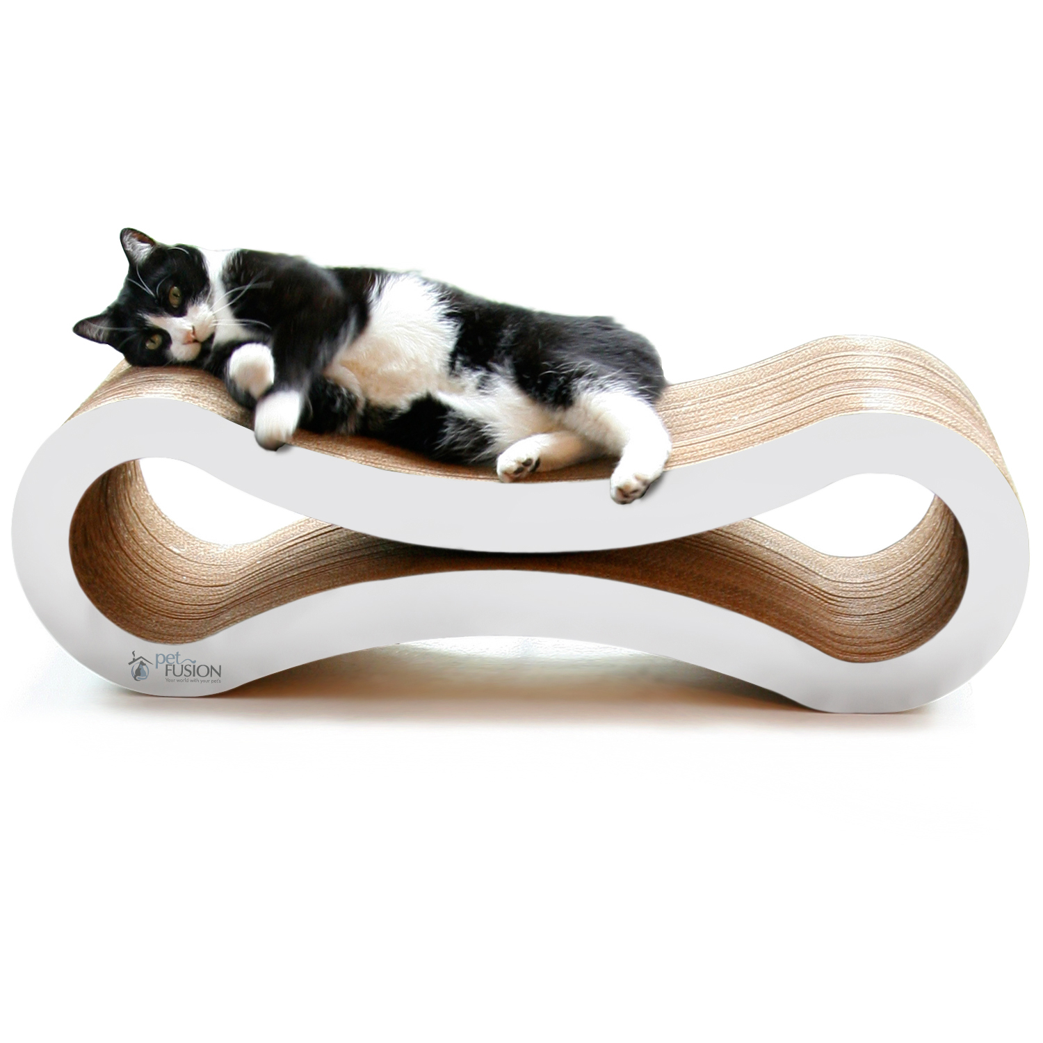 PetFusion Ultimate Cat Scratcher Lounge & Bed - White