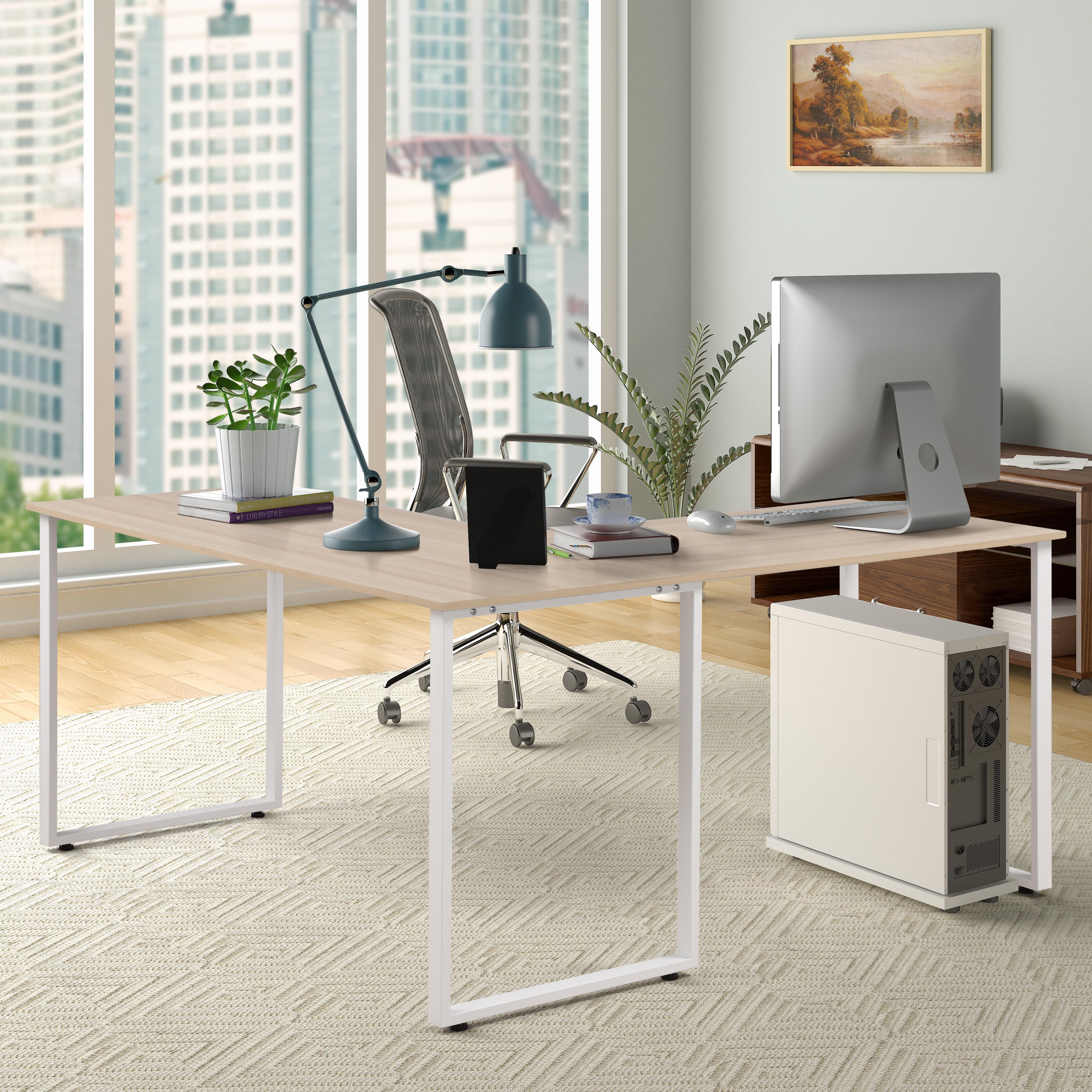 "Merax 59"" L-Shaped Desk with Metal Legs Office Desk Corner Computer Desk, Multiple Colors"