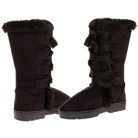 Sara Z Ladies Microsuede 10  Winter Boots With Grosgrain Lace Up