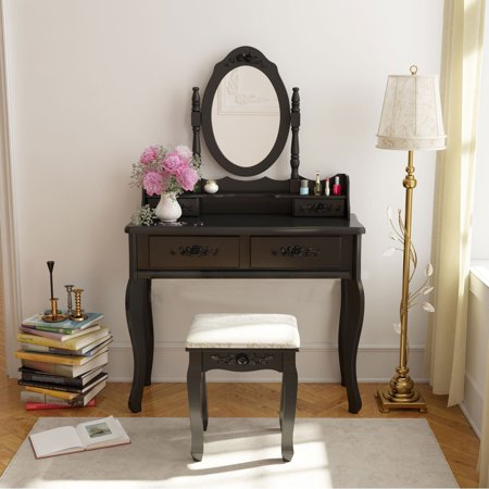 belleze wood make up vanity table and stool set bedroom room black. Black Bedroom Furniture Sets. Home Design Ideas