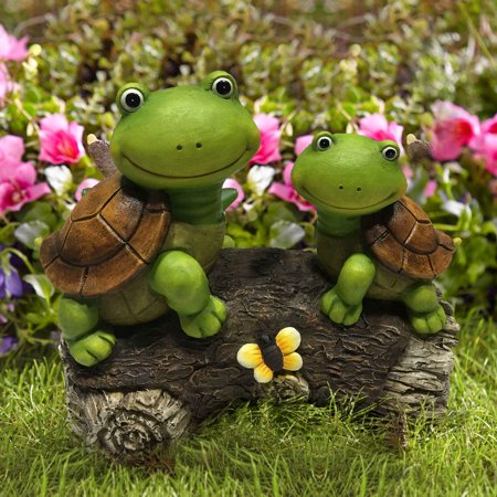 Patio Gift - LA JOLIE MUSE Garden Statue Smiling Turtles on a Log 9 Inch Large Resin Ornaments for Patio Lawn yard Outdoor Decor Thanksgiving Housewarming Gift
