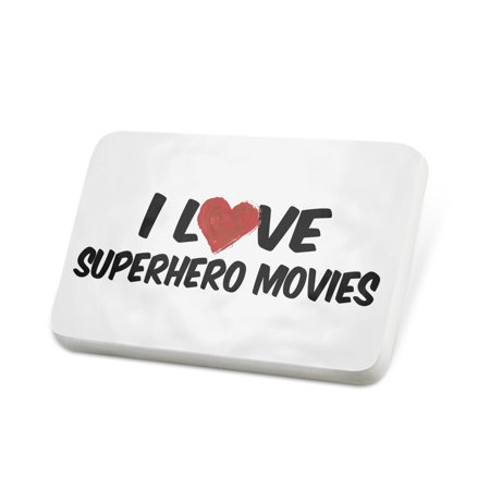 Porcelein Pin I Love Superhero Movies Lapel Badge – NEONBLOND