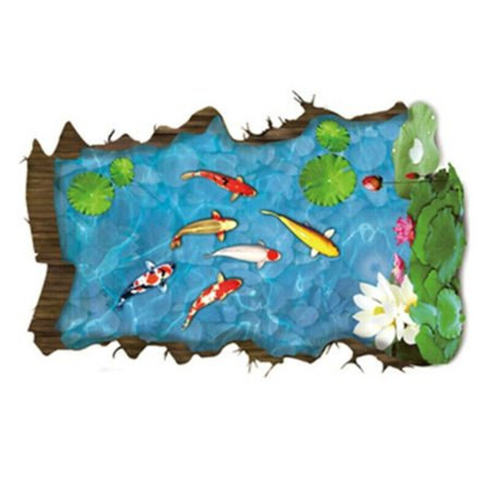 KABOER Wall Stickers 3D Pond Koi Removable Stickers Waterproof Sticker