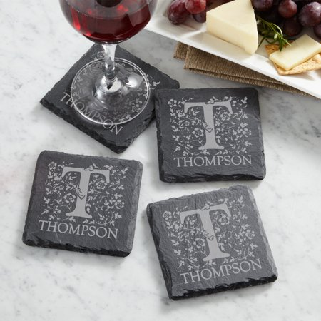 Personalized Scroll and Letter Slate Coasters](Personalized Coasters)