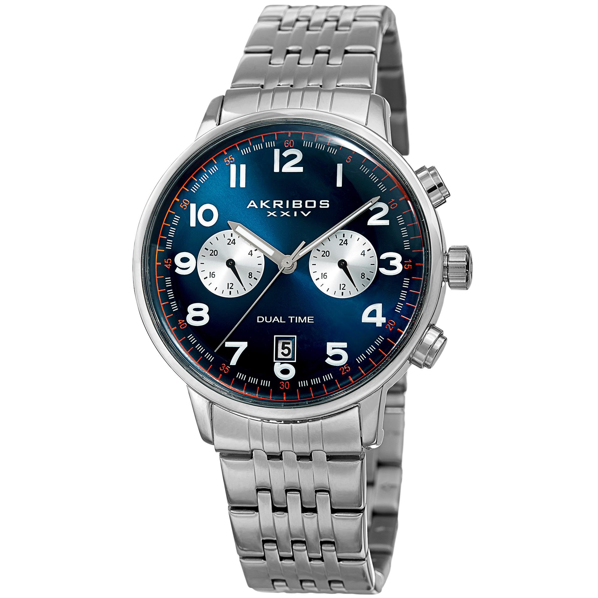 Image of Men's Akribos XXIV AK942BU Blue Two Time Zone Domed Crystal Bracelet Watch