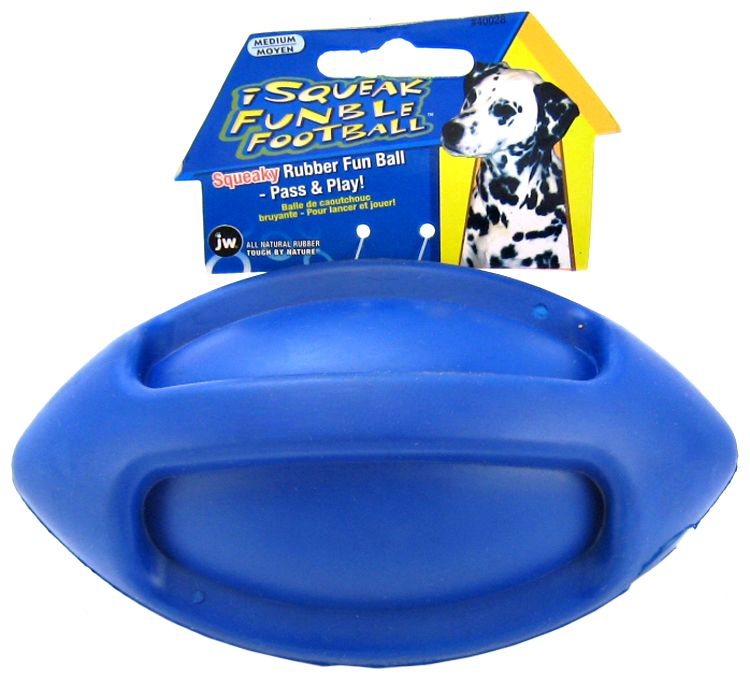 JW Pet iSqueak Funble Football Rubber Dog Toy Medium - (Assorted Colors)
