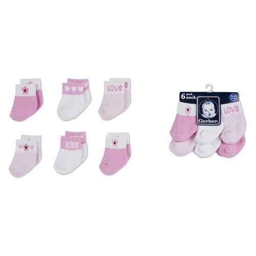Gerber Baby Girls' Terry Ankle Socks, 6-Pack