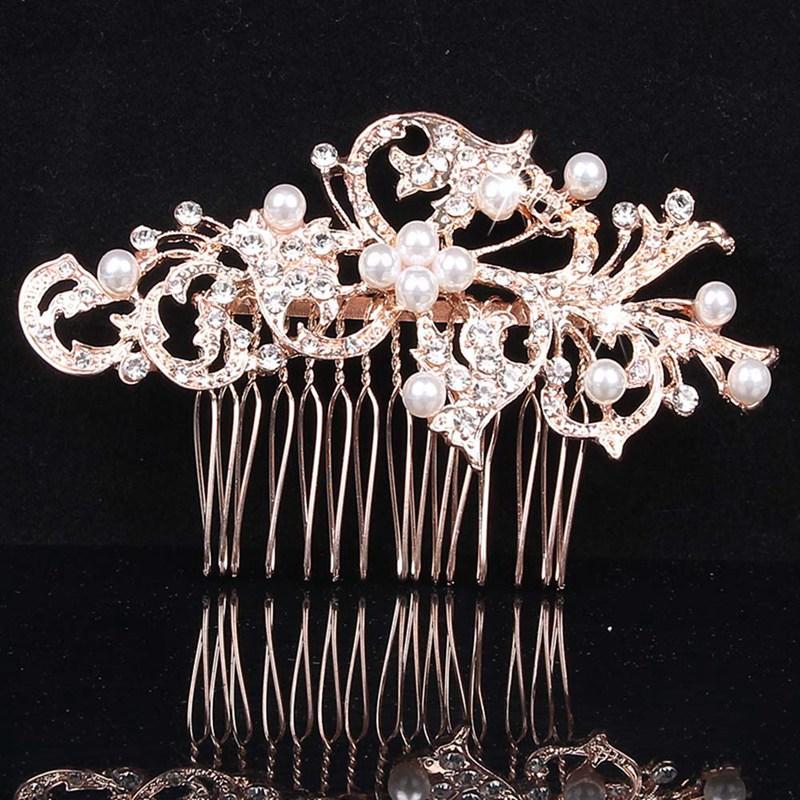 Glitzy Art Deco style /'flora/' crystal hair comb