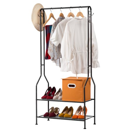LANGRIA 2-Tier Entrance Hall Coat Rack Organiser Metal Multi-Purpose Storage Shoe Bench Stand with Top Rod 4 Hooks for Home Office Hallway Bedroom Max Load Capacity