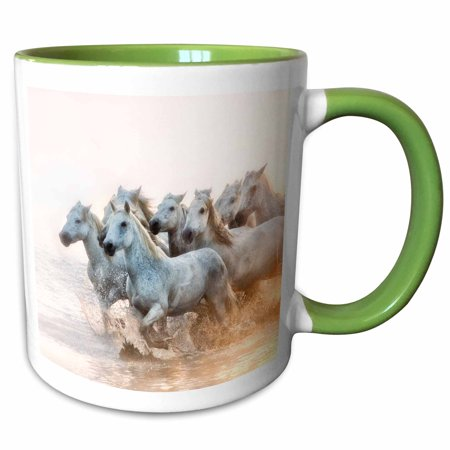 3dRose White horses of Camargue running in the Mediterranean water - Two Tone Green Mug, 11-ounce