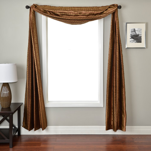 Softline Home Fashions Ariel Stripe Window Scarf in Sienna