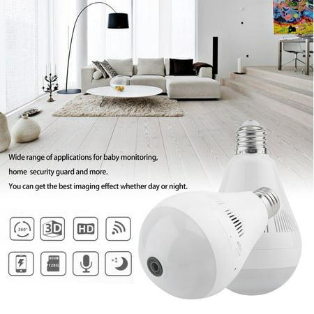 Bulb Camera 360 Degree Panoramic 960P WiF i Surveillance Camera Light Bulb  Mini Home Security Guard IP Camera EC18 White