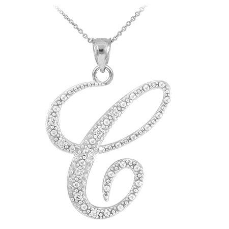 14k white gold letter script c diamond initial pendant 14k white gold letter script c diamond initial aloadofball Images