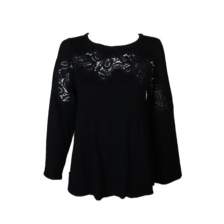 1a6db515350 Styleco - Style & Co Plus Size Black Lace-Trimmed Babydoll Sweater 2X -  Walmart.com