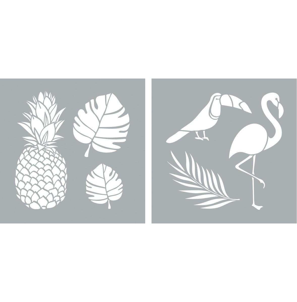 Decoart Americana Decor Stencil 8x8 Tropical