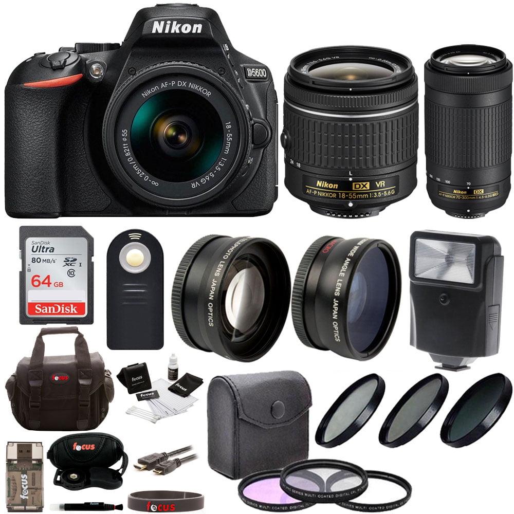Nikon D5600 DSLR Camera w/ 18-55mm VR Lens & 70-300mm ED Lens + 64GB SD Card + Accessory Bundle