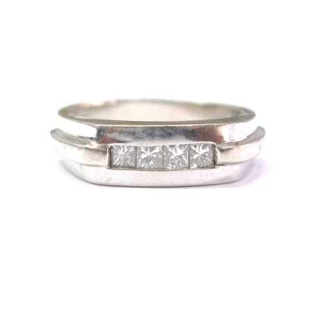 14k Wg Princess Cut Diamond (Fine Princess Cut Invisible Diamond Ring WG 14KT)
