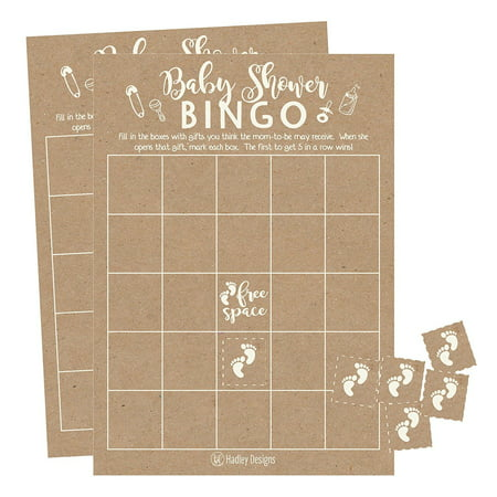 25 Rustic Kraft Bingo Game Cards For Baby Shower, Bulk Blank Bingo Squares, PLUS 25 Pack of Baby Feet Game Chips, Funny Baby Party Ideas and Supplies For Girl or Boy, Cute Kids Woodland Paper Pattern (Girls Halloween Party Ideas)