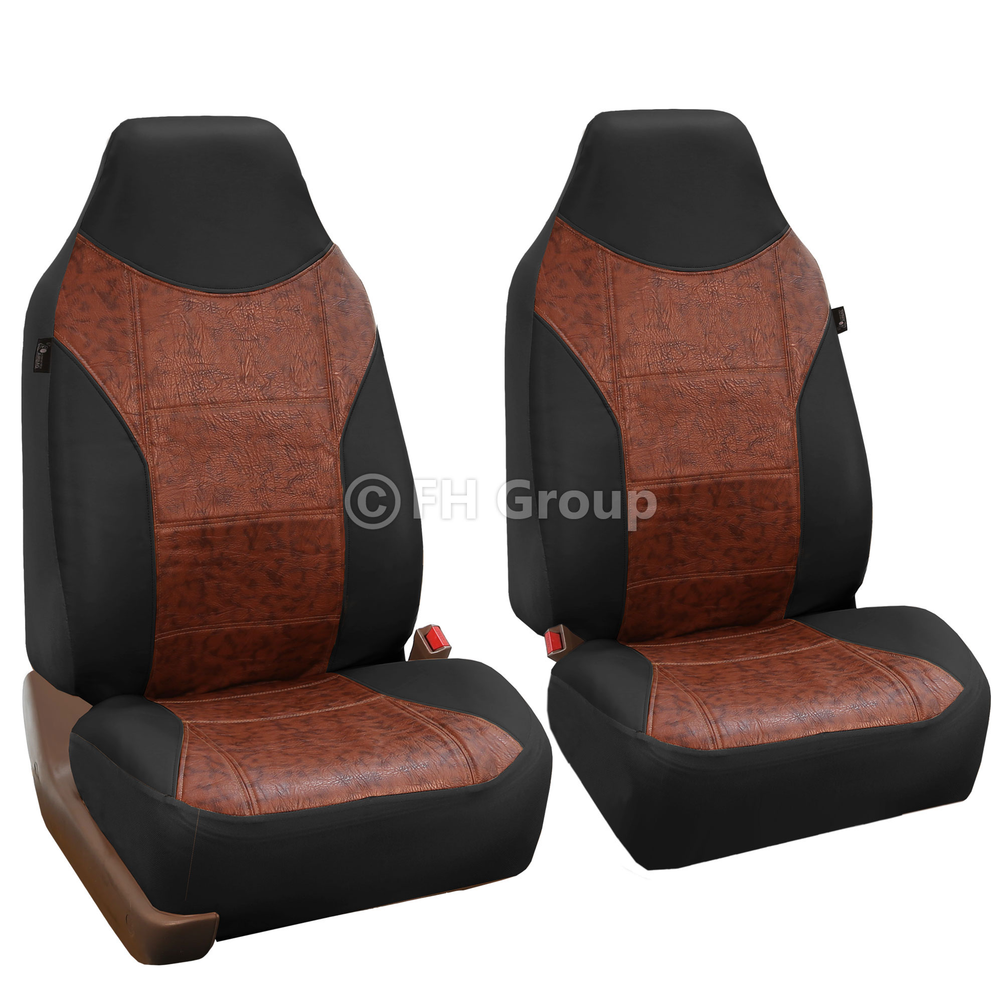 FH Group Highback Textured Leather Seat Covers for Sedan, SUV, Van, Truck, Two Highback Buckets, Black
