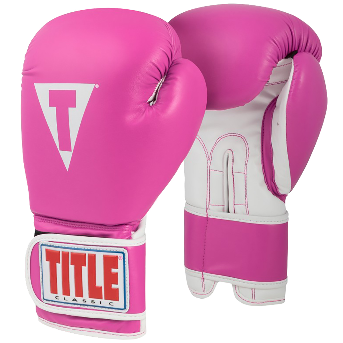 Title Boxing Classic Pro Style Hook and Loop Training Gloves - Hot Pink/White