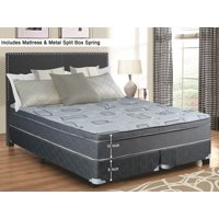 "WAYTON, 10-Inch Meduim Firm Foam Encased Hybrid Eurotop Pillowtop Innerspring Mattress And Split Metal Box Spring/Foundation Set, No Assembly Required, Good For The Back, King Size 79"" x 78"""