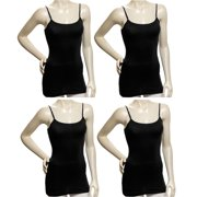 Women 4Pack Black Cotton Tank Top Camisole Spaghetti Strap Shirt (Small)