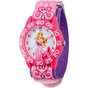 Aurora Girls' Plastic Case Watch, Printed Stretch Nylon Strap