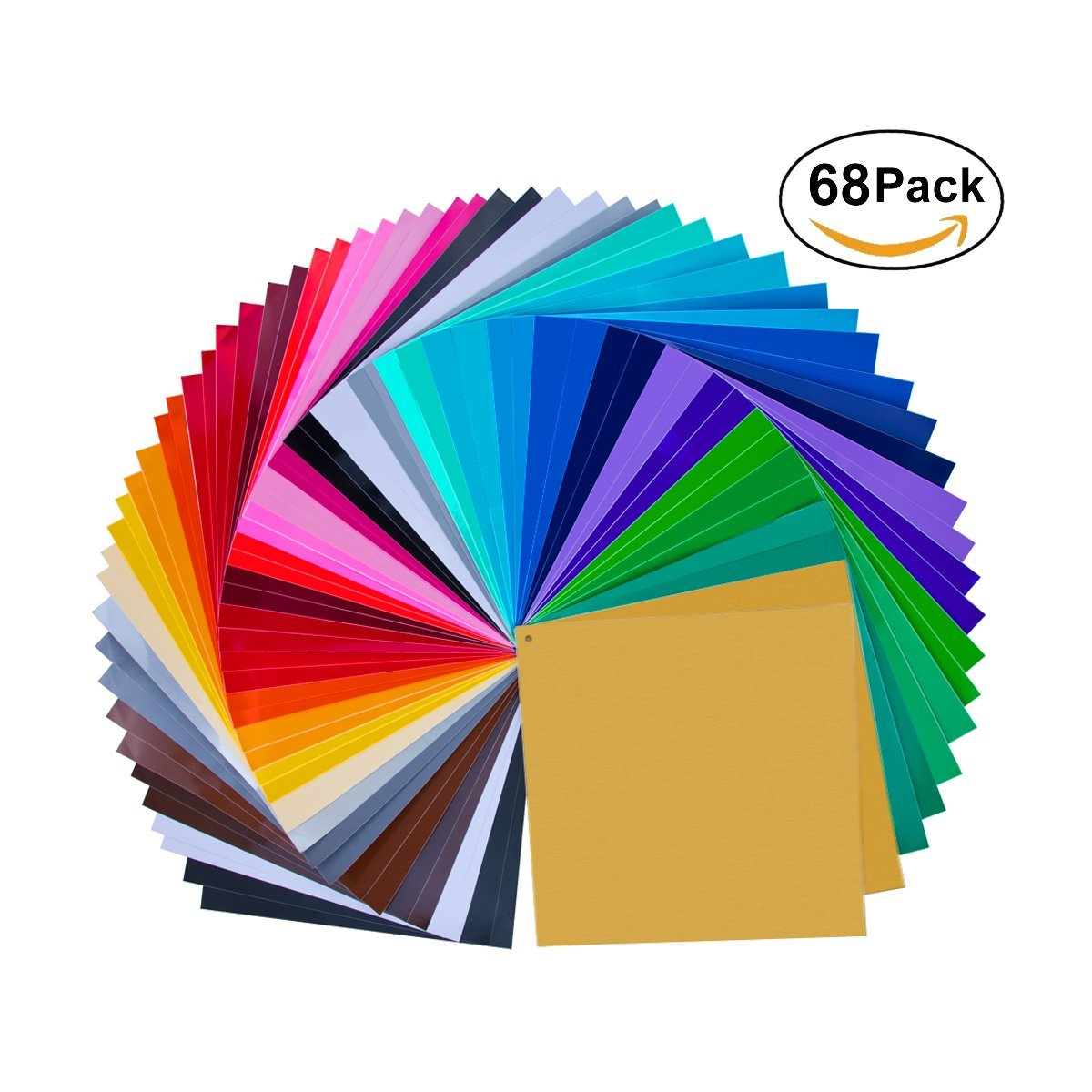 "Vinyl Sheets 68 Pack 12"" X 12"" Premium Permanent Self Adhesive-Assorted Colors (Glossy,Matt,Metallic and Brushed Metallic) for Cricut,Silhouette Cameo,Craft Cutters,Printers,Letters,Decals"