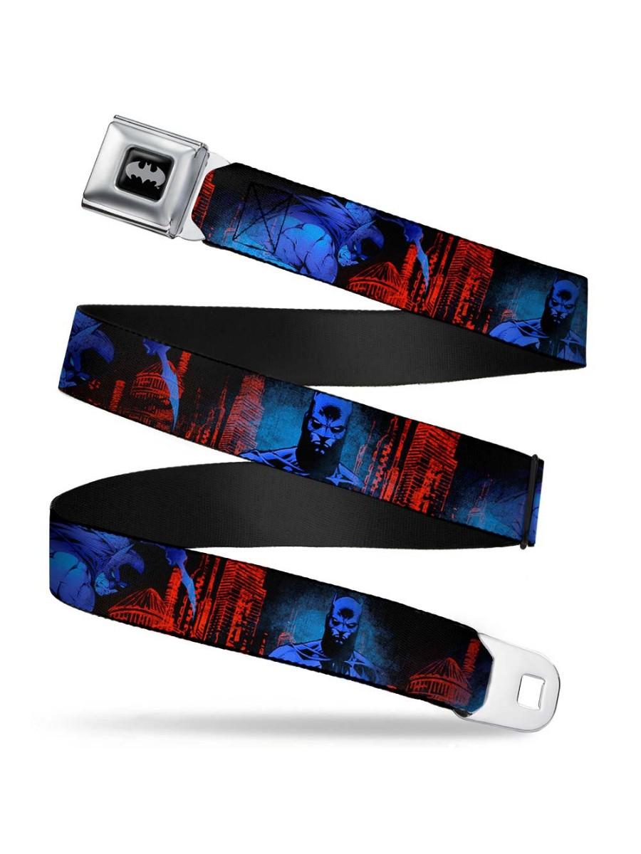 Batman 2-Poses-Buildings Black/Reds/Blues Webbing - Seatbelt Belt Regular
