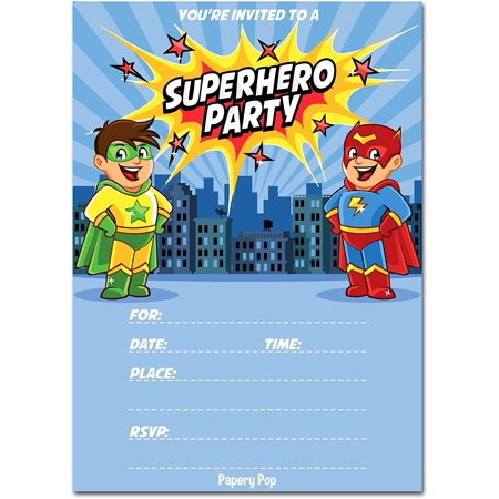 30 Superhero Birthday Invitations with Envelopes - Kids Birthday Party Invitations for Boys or Girls