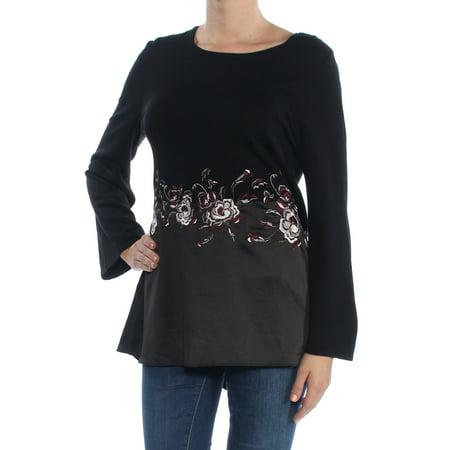 - ALFANI Womens Black Embroidered  Felt Bell Sleeve Jewel Neck Empire Waist Empire Waist Top  Size: M