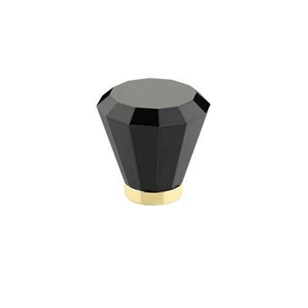 Emtek 86548 Brookmont Series 1-5/8 Inch Diameter Black Crystal Designer Cabinet, Polished Brass