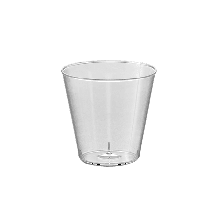 Kaya Collection - 1oz Round Shot Glasses Clear Plastic Disposable Cups, Perfect Container for Sampling and Condiments - 2 Pack (100 Shot Glasses) - Clear Plastic Shot Glasses