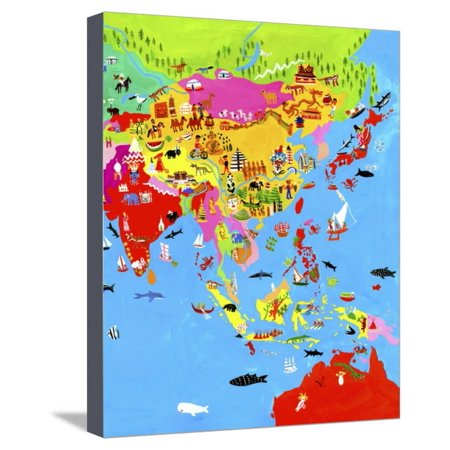 Map Of Asia To Print.Map Of Asia With Asian Culture And Wildlife Stretched Canvas Print