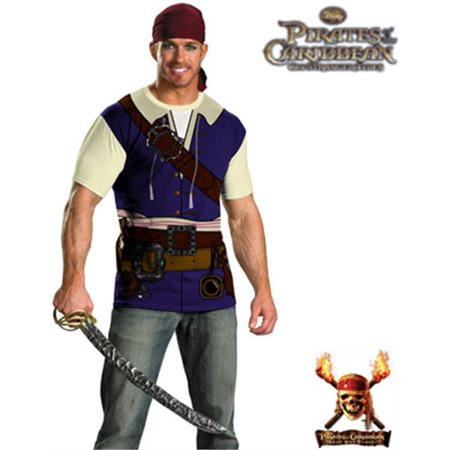 Adult Disney Pirates of the Caribbean Jack Sparrow T-Shirt & Bandana Costume (Pirates Of The Caribbean Jack Sparrow Costume)