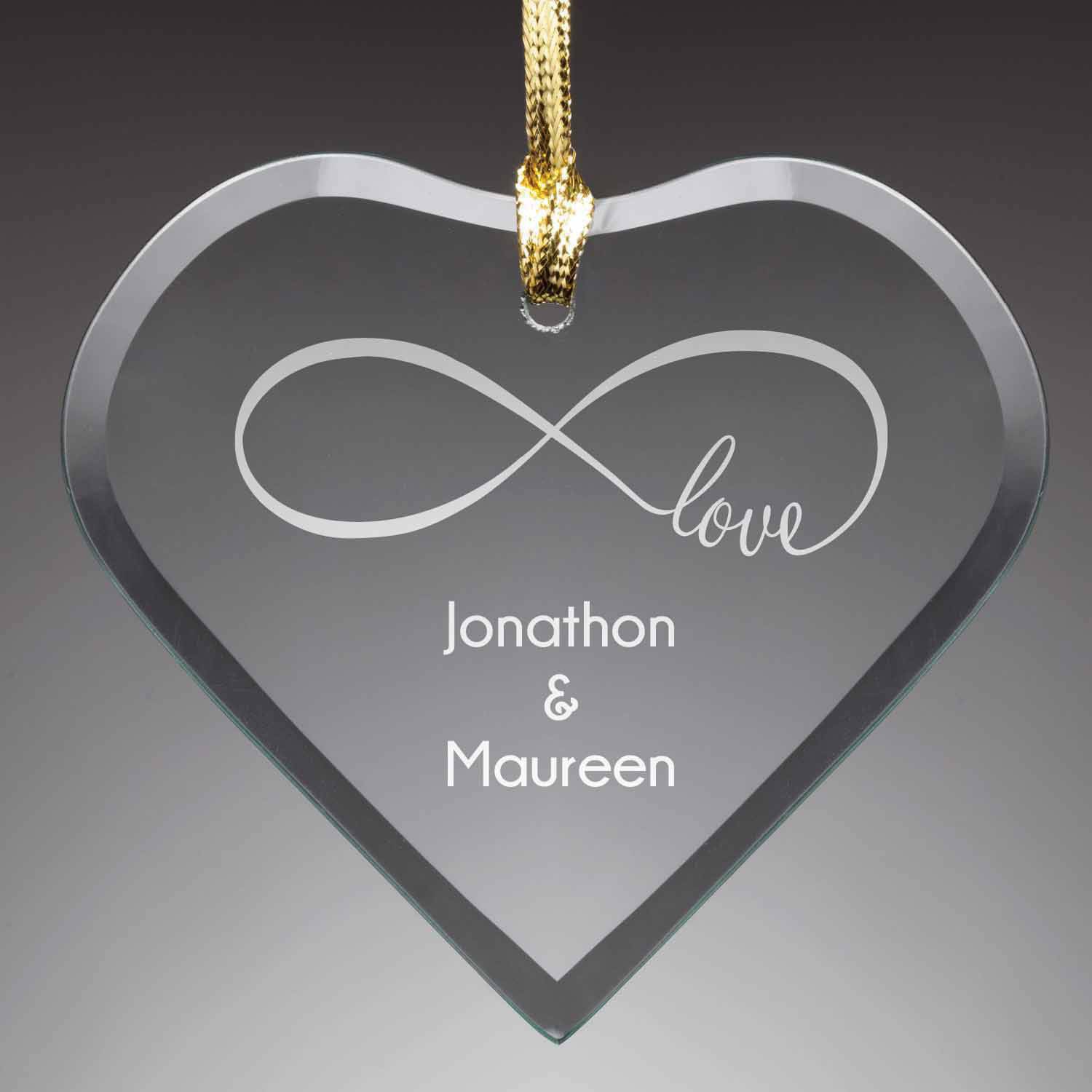Personalized Glass Christmas Ornament - Our Love