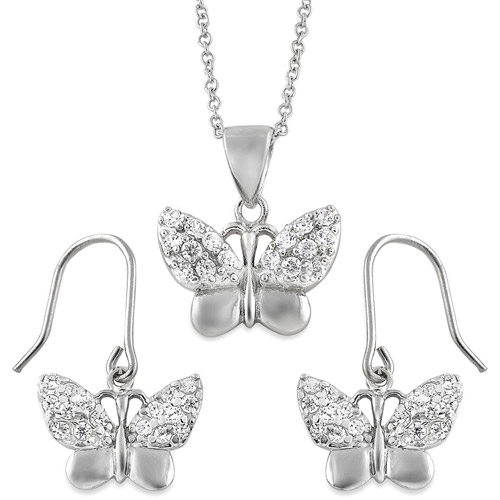 Brinley Co. CZ Sterling Silver Butterfly Pendant and Earrings Set