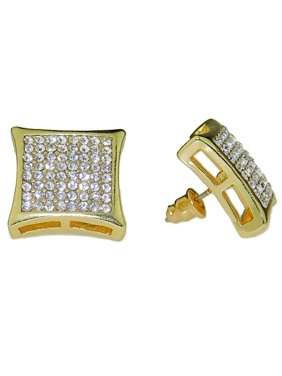 Mens Huge 17mm Curve Kite Hip Hop Earrings Gold Finish Square 8 Rows Lines Bling Large Micro Pave
