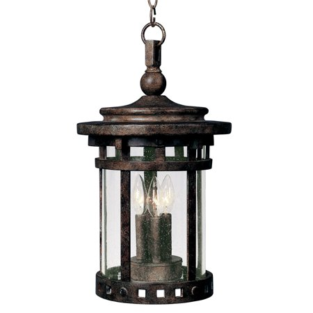 Outdoor Pendant 3 Light Bulb Fixture With Sienna Finish Die Cast Aluminum Material Candelabra Bulbs 9 inch 120 Watts