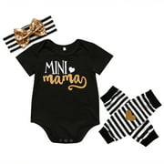 ARDYAL JELLY Newborn Infant Baby Girls Romper+Headband+Leg warmers Gift Set