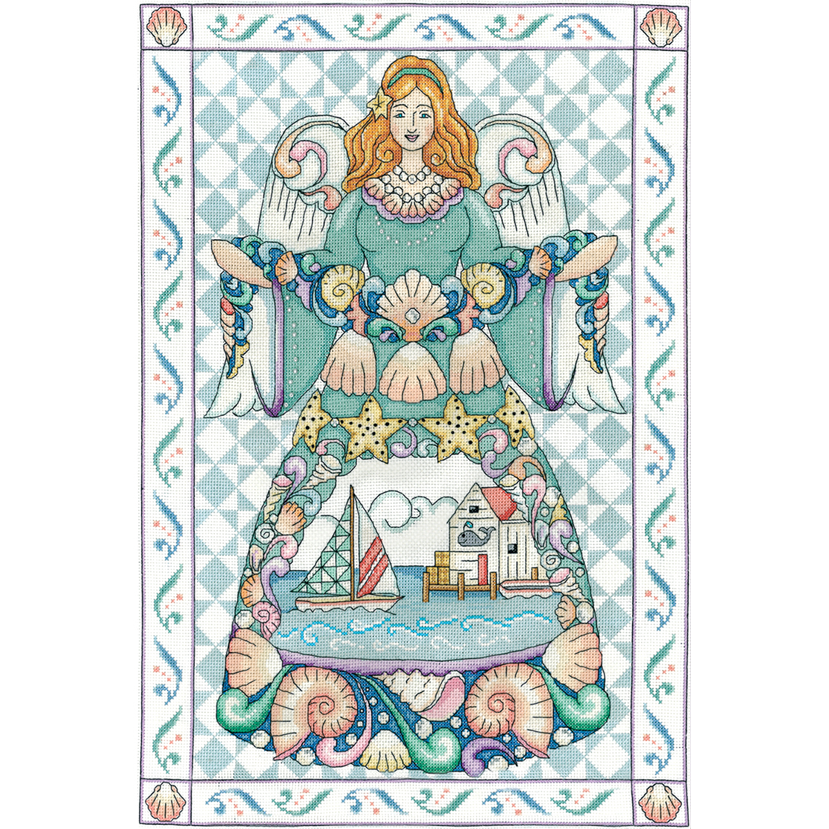 """Design Works Counted Cross Stitch Kit 14""""X20""""-Seashell Angel (14 Count)"""