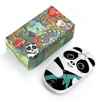 Charming Cute Panda Pattern 2.4G Slim Wireless Mouse Portable Mobile mouse for School office with Nano Receiver (Panda)
