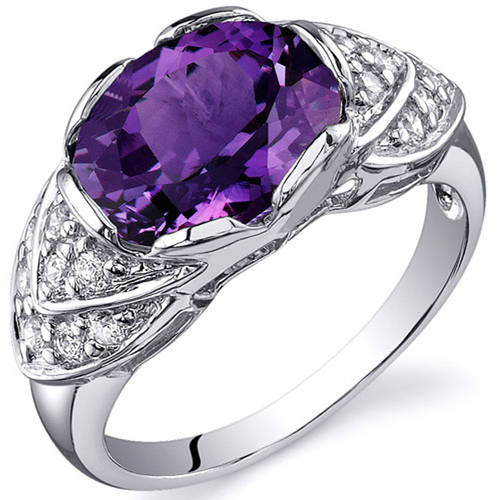 Oravo 3.50 Carat T.G.W. Created Alexandrite Rhodium-Plated Sterling Silver Engagement Ring