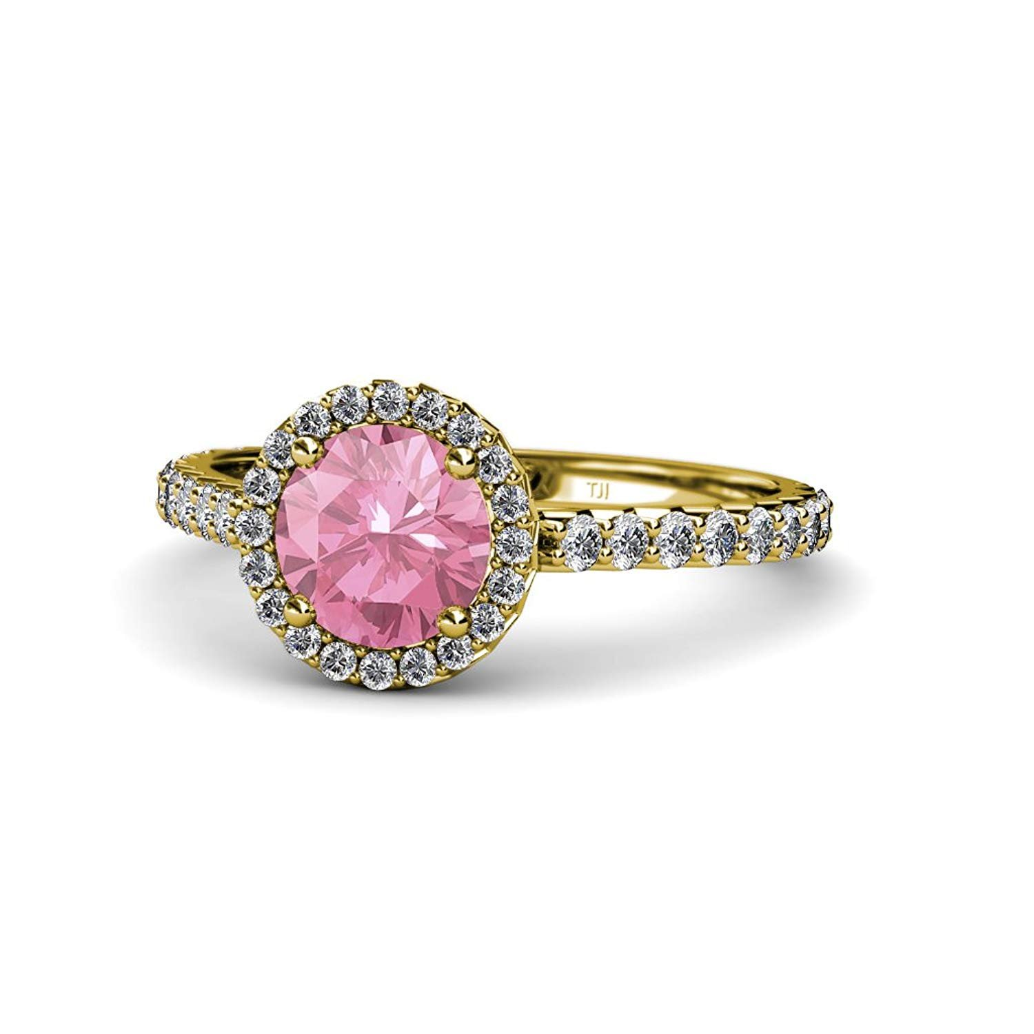 Pink Tourmaline and Diamond (SI2-I1, G-H) Halo Engagement Ring 1.38 ct tw in 14K Yellow Gold.size 4.5 by TriJewels