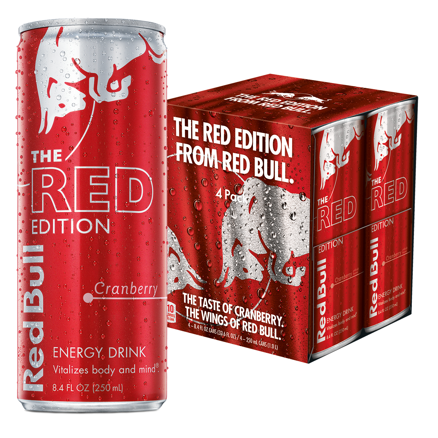 Red Bull Red Edition, Cranberry Energy Drink, 8.4 Fl Oz Cans, 4 Pack