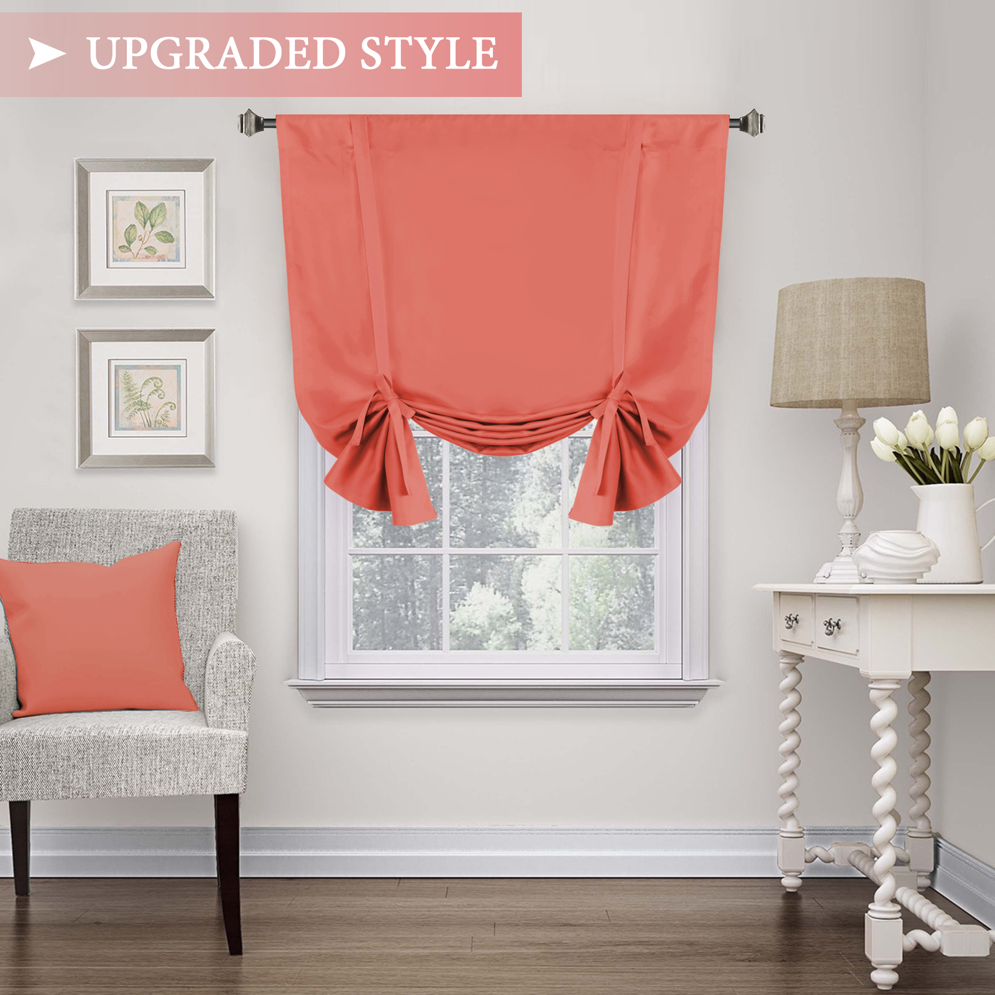 Blackout Curtain For Small Window Thermal Insulated Tie Up Shade