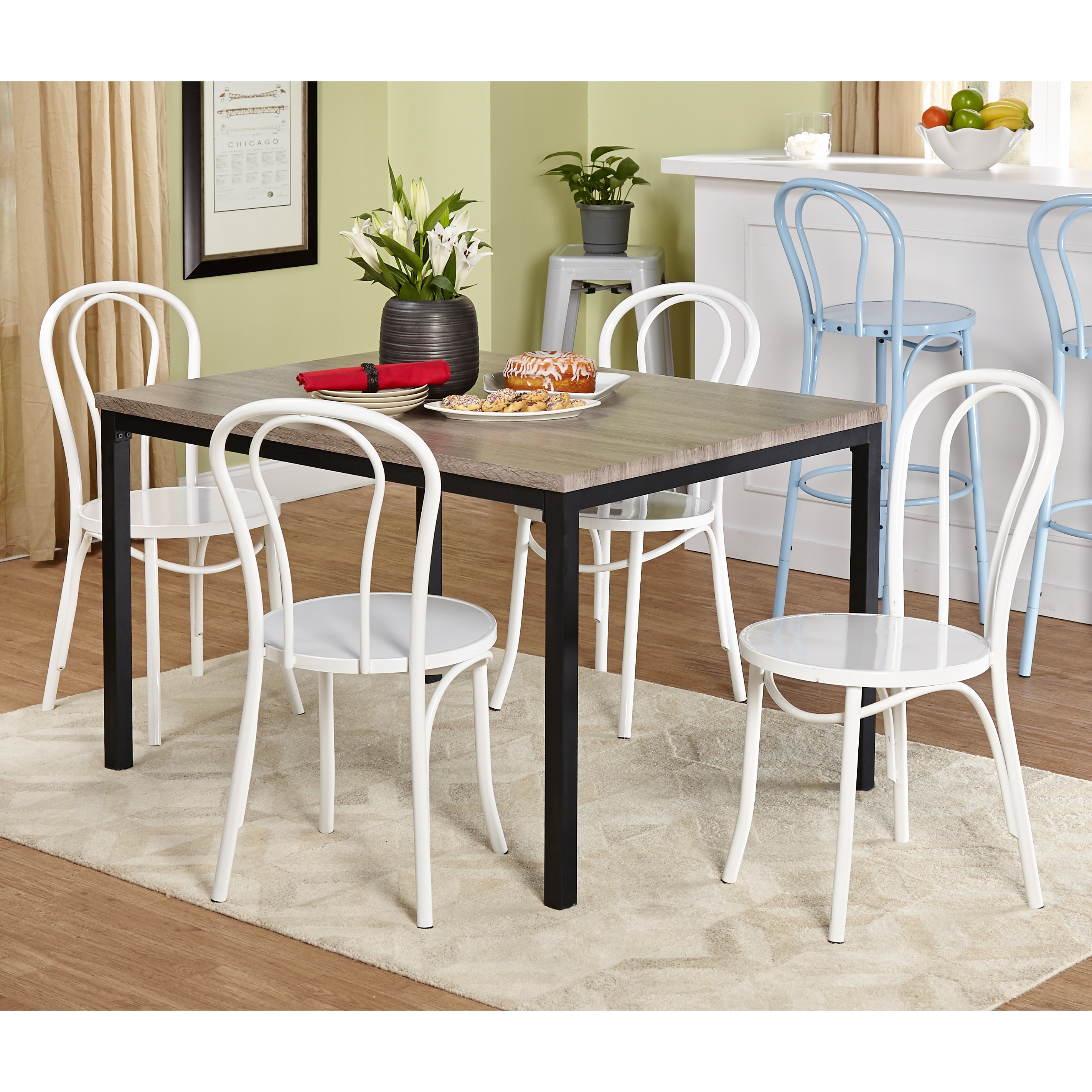 Retro Living Room Furniture Sets: Simple Living 5-piece Vintage Dining Set With White Chairs
