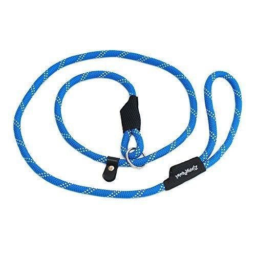 ZippyPaws Climbers Mountain Climbing Rope Leash - Slip Lead 6-Feet (Blue, Slip Lead 6-Feet (12 rope))